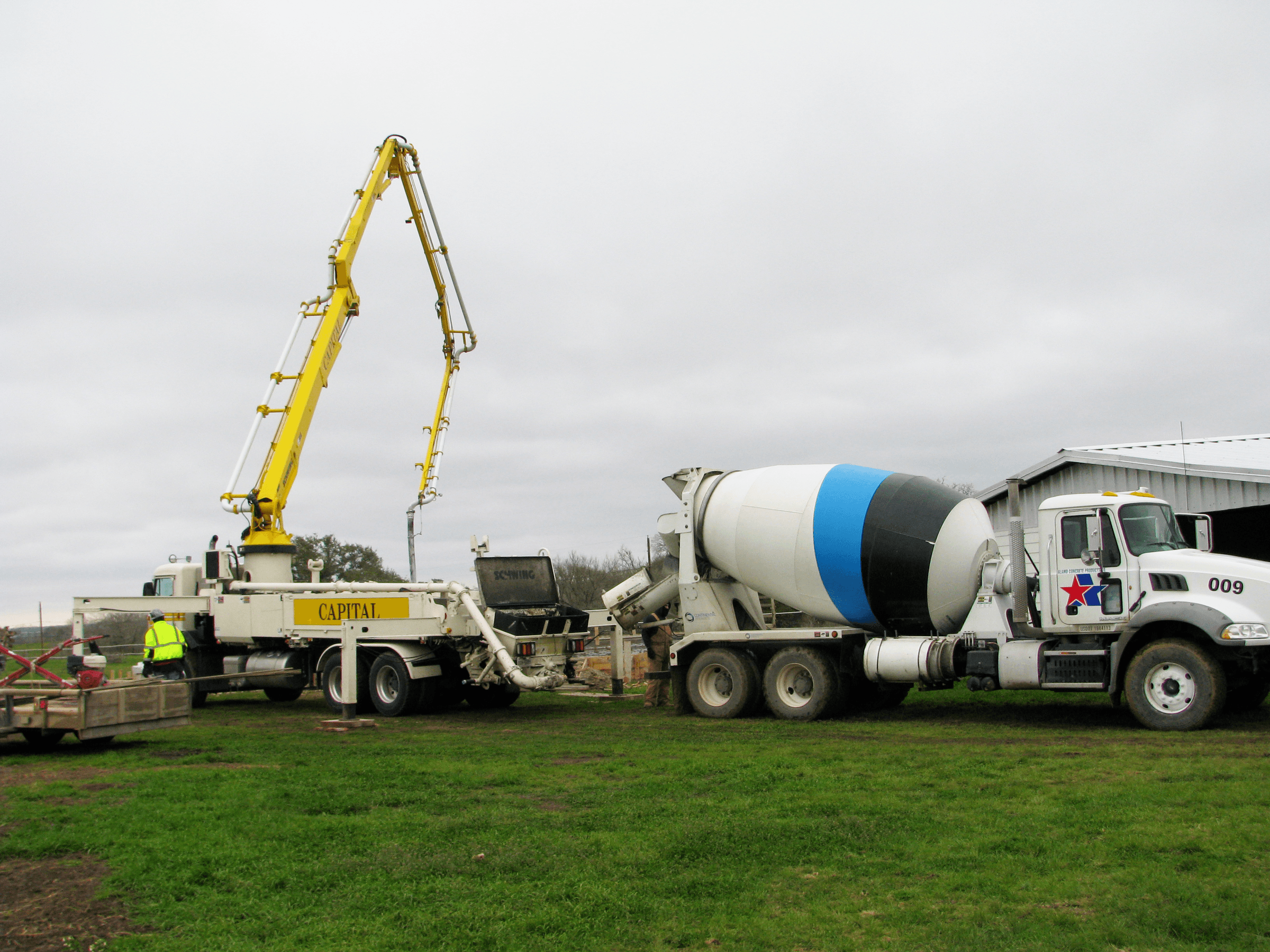 The concrete pour for the metal building.