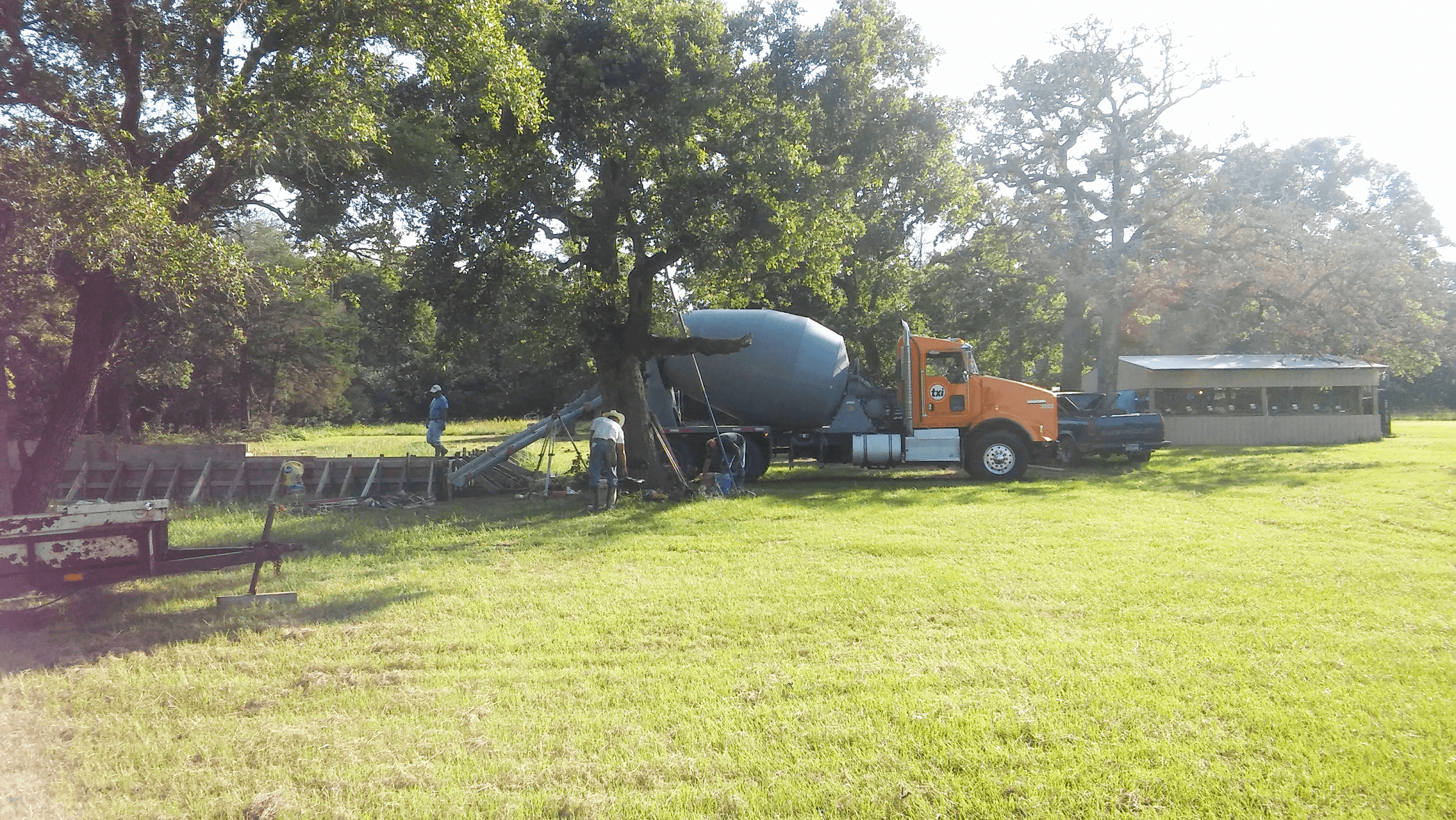 Pouring the concrete for the metal building.