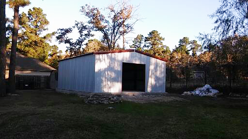 Metal Woodworking Shop closed in and ready for the fancy siding.