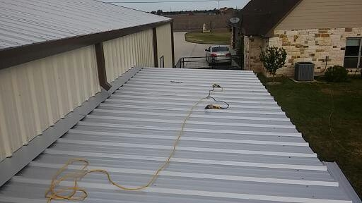 Metal roofing on front porch from above.