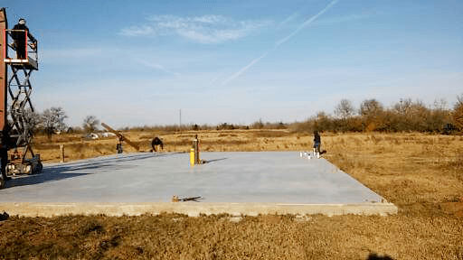 The concrete foundation for the barndominium and mechanic shop.