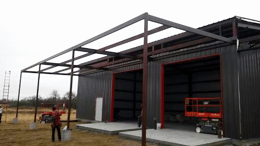 Almost ready for the metal roof on the overhang.
