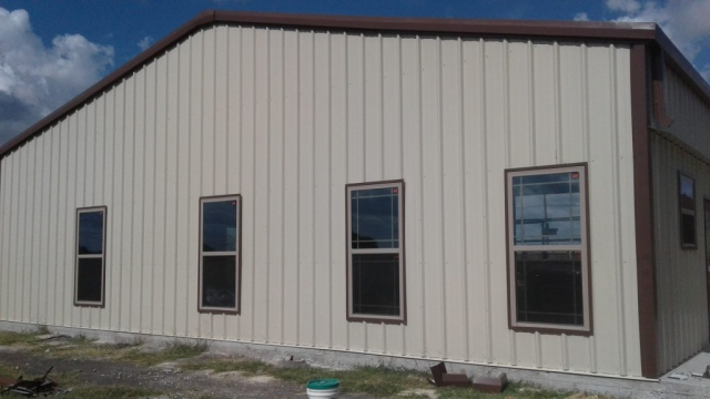 Windows on metal barndominium.