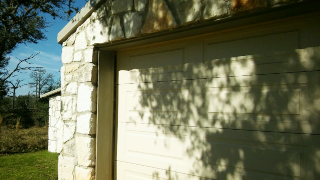 Another view of the garage door metal trim