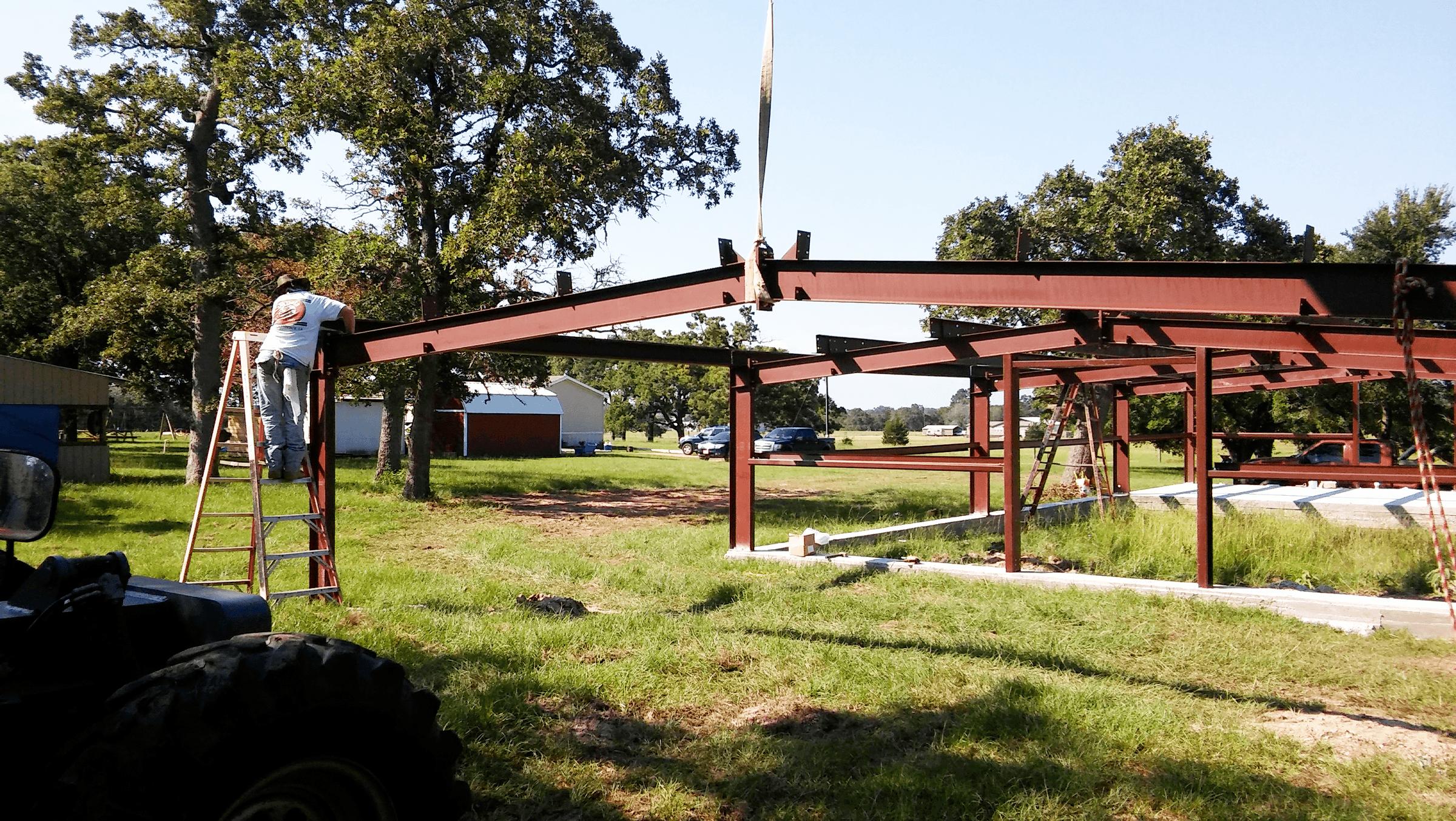 Framing the back overhang.