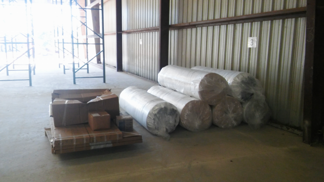 Rolls of insulation for the inside of the remodel.