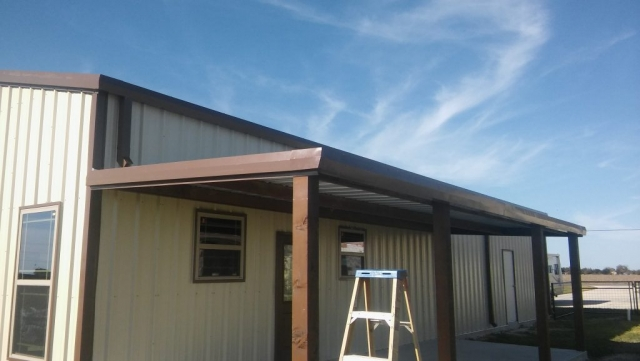 Metal roofing finished on front porch
