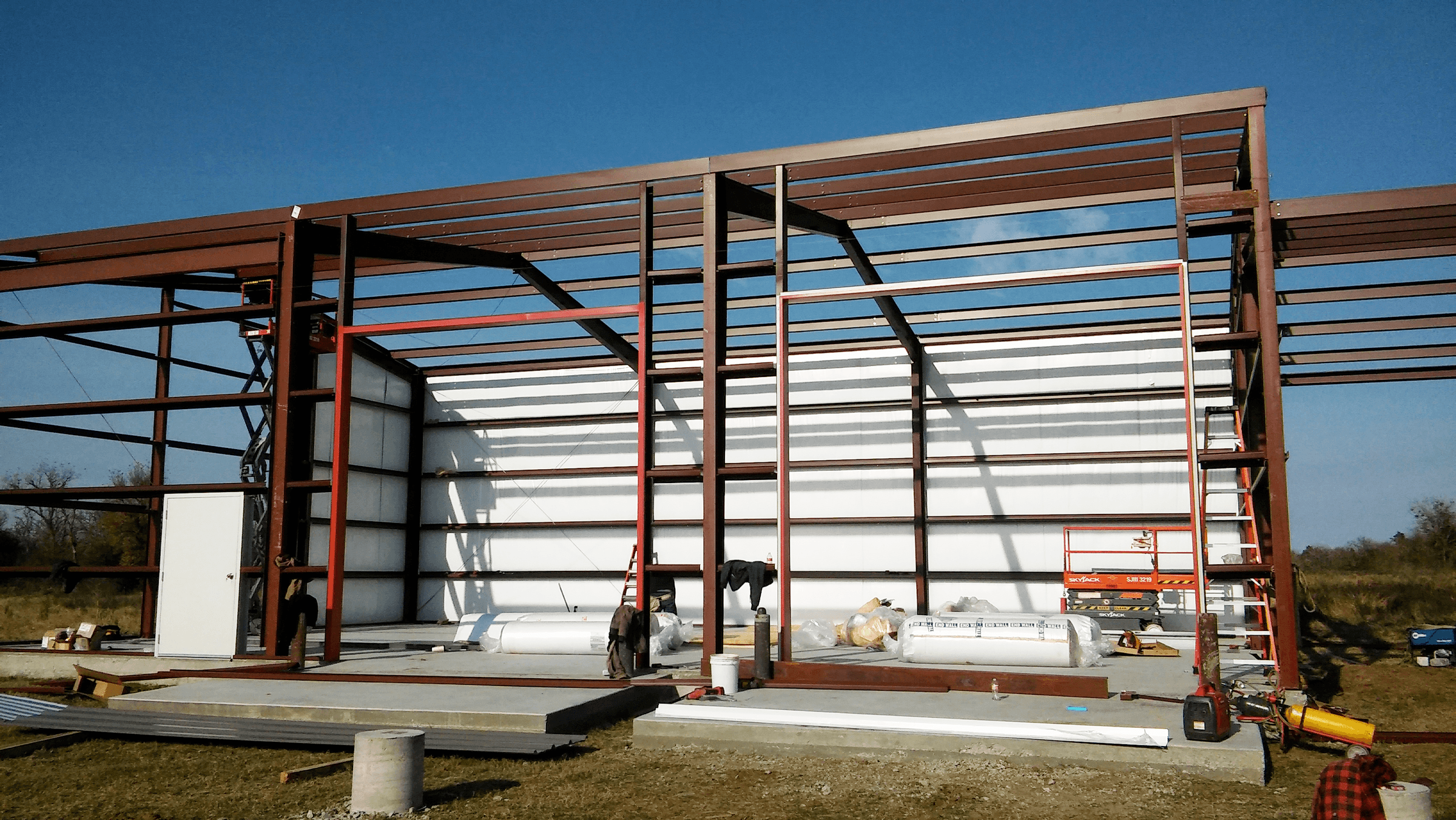 Wall framing and insulation, view from the front.