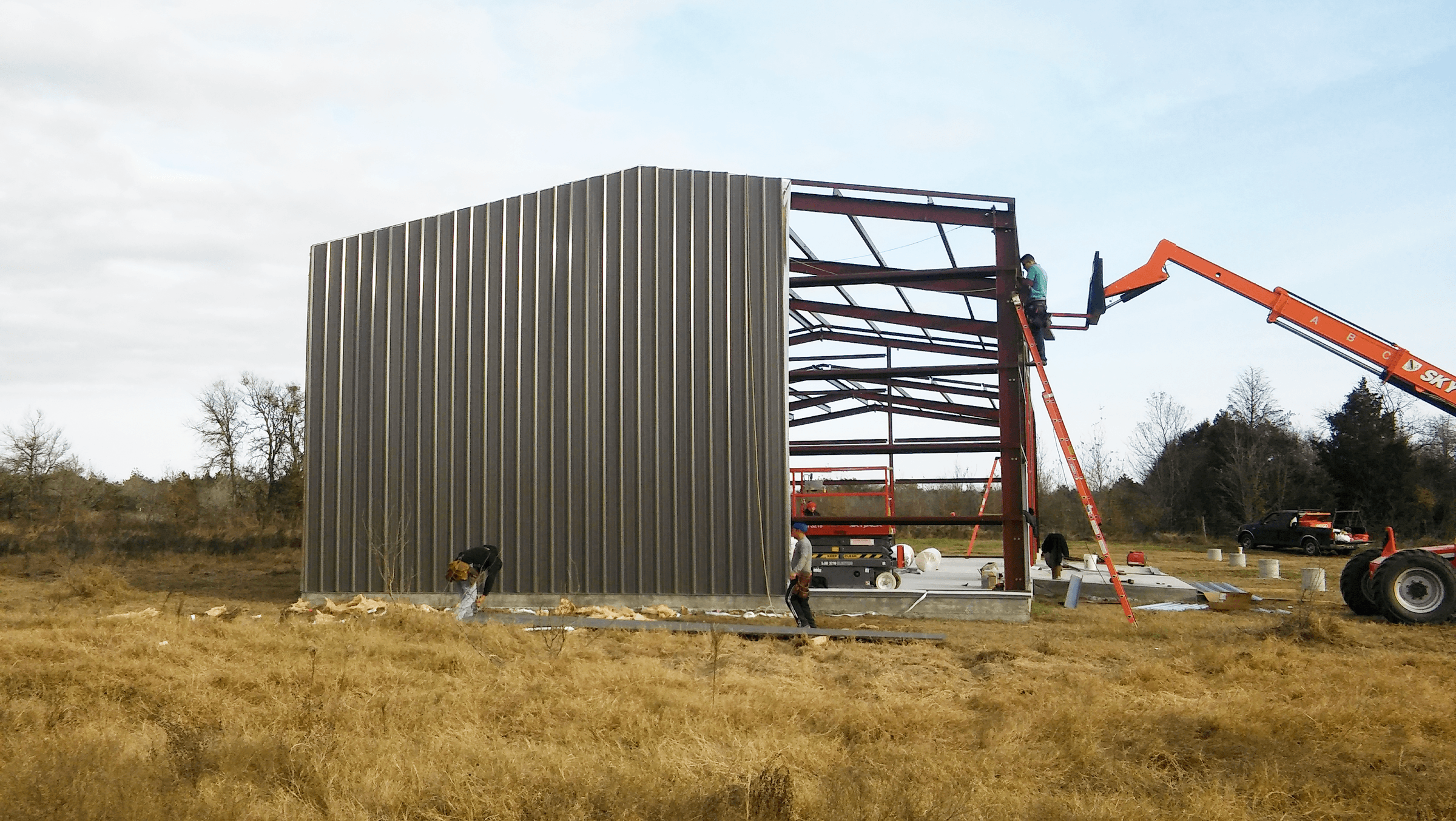 More metal walls and insulation.