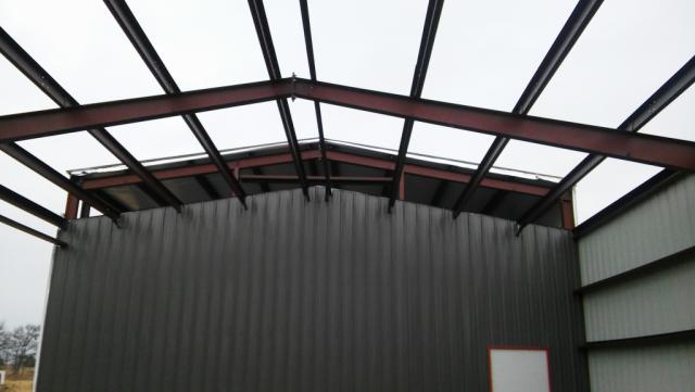 Wash bay roof framing.