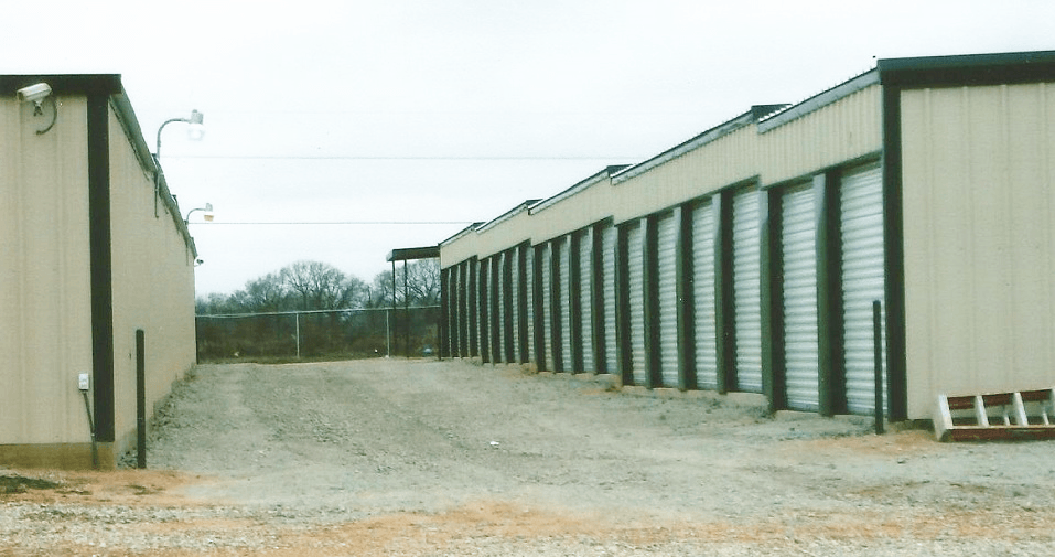 An example of stepped metal storage units in Texas.