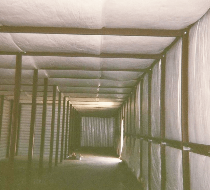 Inside the Louisiana storage building before finishing.