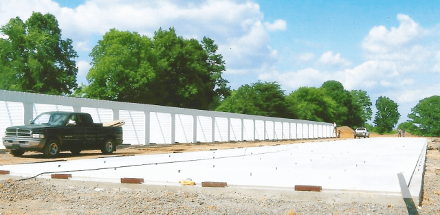 Metal storage buildings being erected in Tennessee.