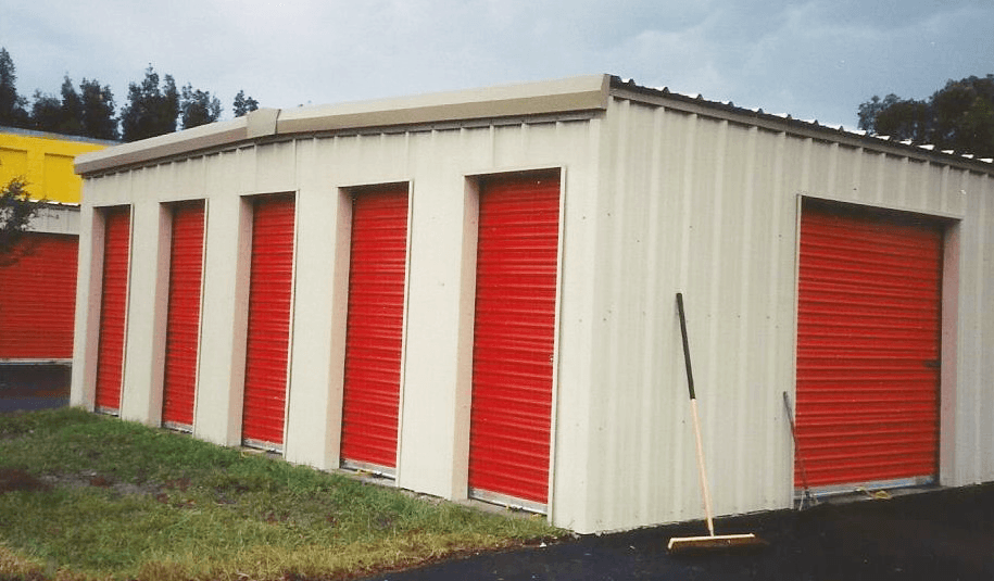 Three-tone metal storage buildings in Florida.