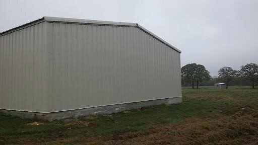 Back side of the metal garage is finished.