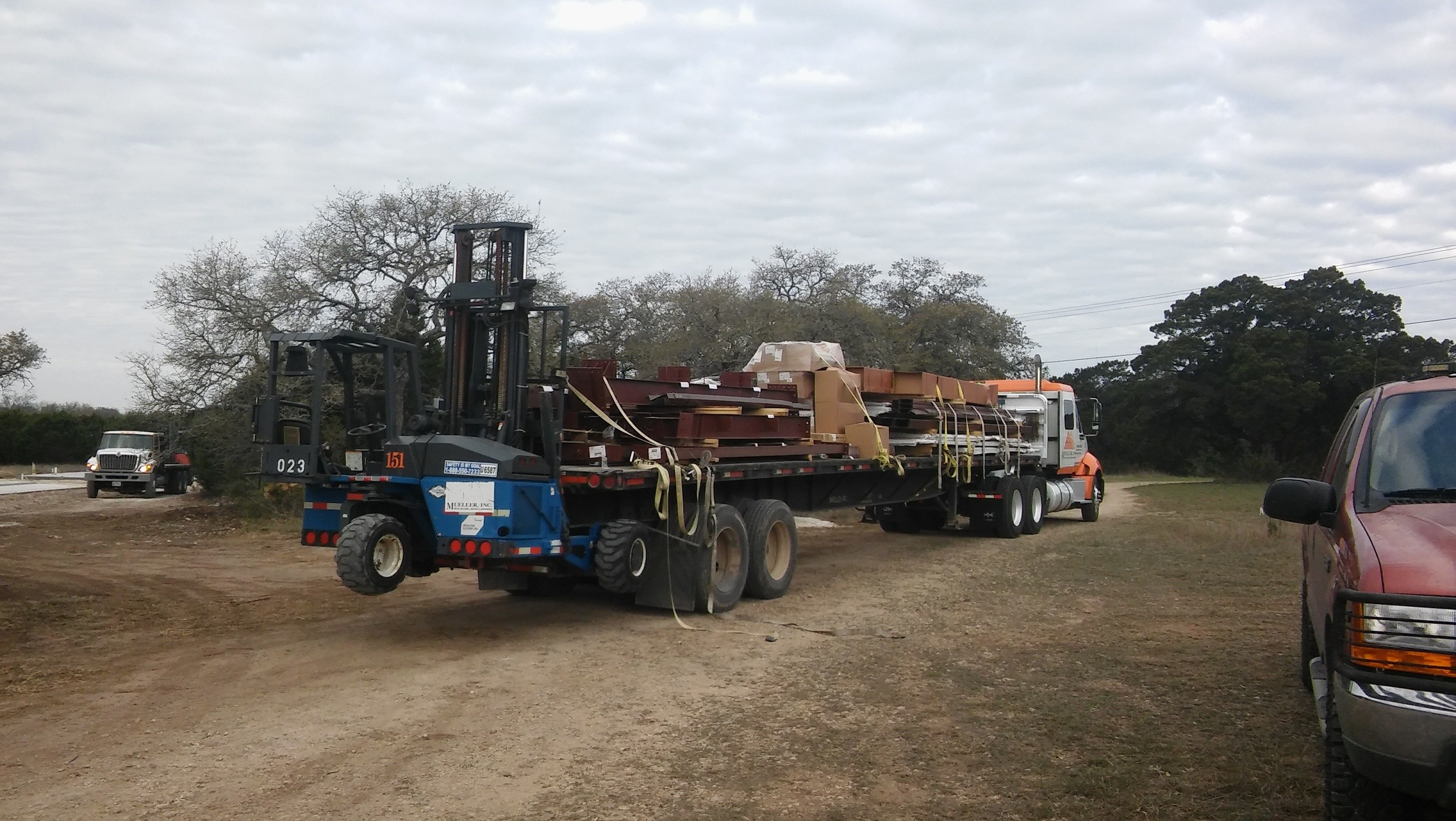 Delivery of the steel building materials.